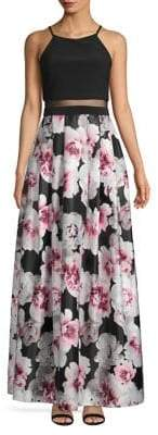 Betsy & Adam Floral-Print Maxi Dress