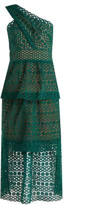 Self-Portrait One-shoulder tiered lace midi dress