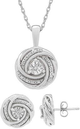 FINE JEWELRY 1/10 CT. T.W. Genuine White Diamond Sterling Silver Knot Jewelry Set