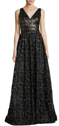 David Meister Sleeveless Mixed-Media Ball Gown, Gold/Black