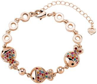 Swarovski T400 Jewelers Clownfish White Gold Rainbow Bracelet with Elements crystal 6.7""