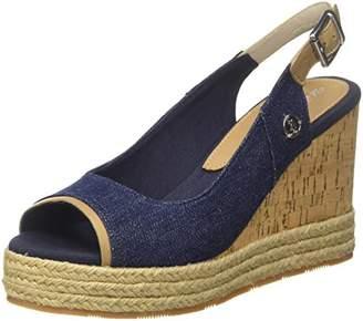 U.S. Polo Assn. Women's TOPAZIA Open Toe Sandals, Blue Jeans
