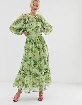 Asos Edition EDITION oversized maxi dress in floral grid print