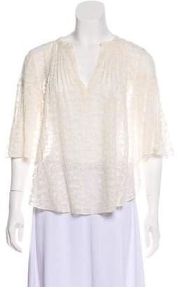 Rebecca Taylor Silk Embroidered Blouse