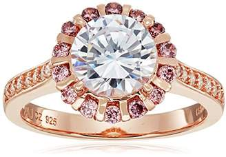 Gold Plated Sterling Silver Round White Cubic Zirconia 8mm and Smoky Cubic Zirconia Halo Ring