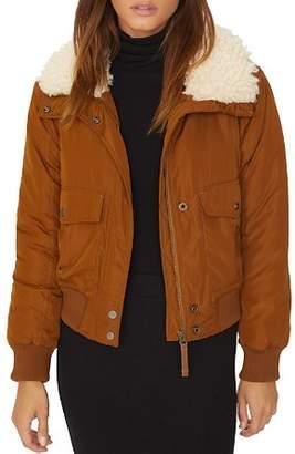 Sanctuary Faux-Fur Collar Aviator Jacket
