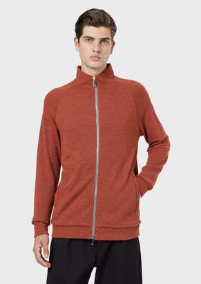 Emporio Armani Wool-Blend Cardigan With Zip And Two-Tone Micro Pattern
