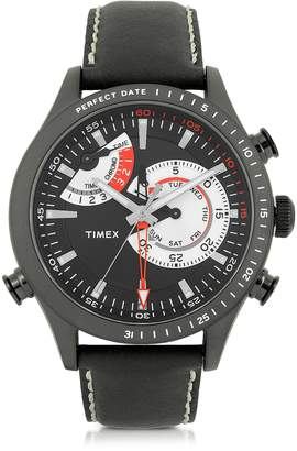 Timex Chrono Timer Black Stainless Steel Case and Leather Strap Men's Watch