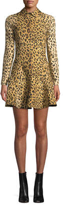 Valentino Long-Sleeve Wild Leopard-Print A-Line Mini Dress