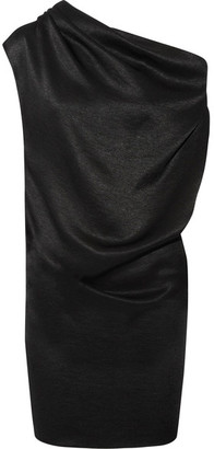 Lanvin - One-shoulder Draped Chain-trimmed Satin-jersey Mini Dress - Black $2,435 thestylecure.com