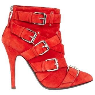 Balmain Red Suede Ankle boots