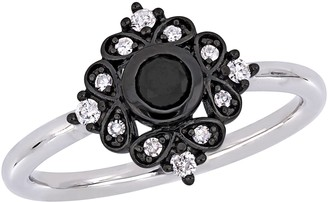Stella Grace 10k White Gold 1/3 Carat T.W. Black & White Diamond Bohemian Ring