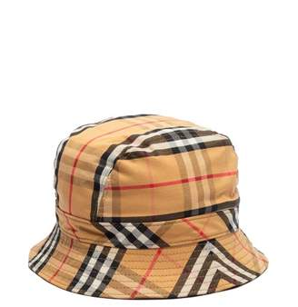 Burberry Checked Cotton Bucket Hat - Womens - Camel