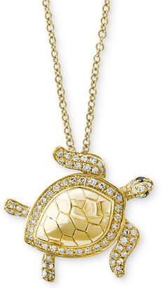 Effy Seaside by Diamond Turtle Pendant Necklace (1/4 ct. t.w.) in 14k Gold
