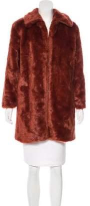 Frame Faux Fur Knee-Length Coat