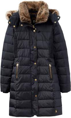 dbbfb0facfd Next Womens Joules Navy Long Line Padded Coat With Faux Fur Hood