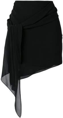 Saint Laurent asymmetric drape mini skirt