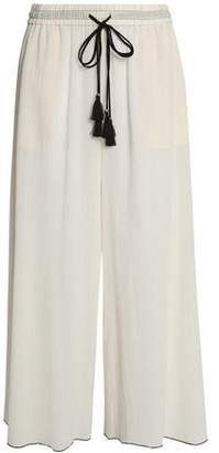 Theory Tasseled Crinkled Cotton-Gauze Wide-Leg Pants