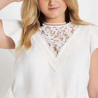 River Island Plus white lace front frill sleeve top