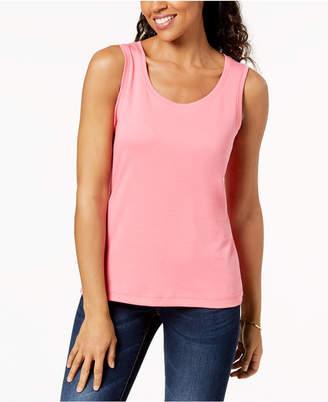 Karen Scott Cotton Sleeveless Scoop-Neck Top, Created for Macy's