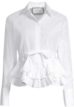Alexis Winton Tiered Pleated Peplum Button-Down Blouse