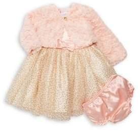 Nannette Baby Girl's 3-Piece Jacket, Glitter-Dot Dress & Bloomers Set