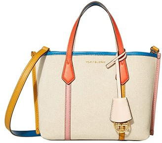 Tory Burch Perry Canvas Small Triple-Compartment Tote