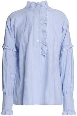 Antik Batik Ruffle-Trimmed Striped Cotton-Poplin Shirt