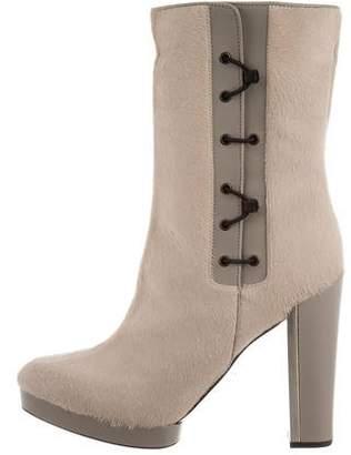 Calvin Klein Collection Platform Ponyhair Ankle Boots