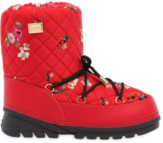 Dolce & Gabbana Floral Print Quilted Nylon Snow Boots
