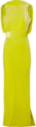 Brandon Maxwell - Open-back Velvet Gown - Lime green