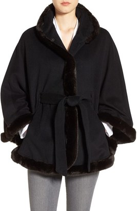 Women's Ellen Tracy Wool Blend Cape With Faux Fur $278 thestylecure.com