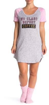 Couture PJ No Class Before Coffee Nightshirt & Socks Pajama 2-Piece Set