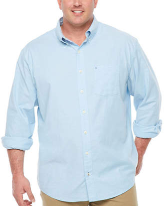 Izod Long Sleeve Saltwater Oxford Woven Long Sleeve Button-Front Shirt-Big and Tall