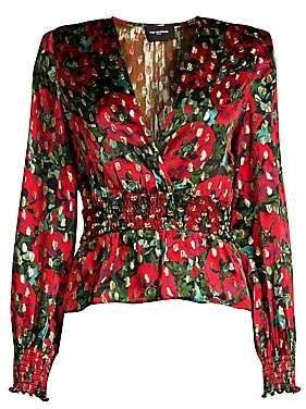 The Kooples Women's Metallic Floral Wrap Blouse