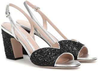 d091e3fdbb47 Miu Miu Glitter slingback sandals