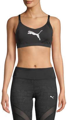 Puma En Pointe Logo Sports Bra, Black