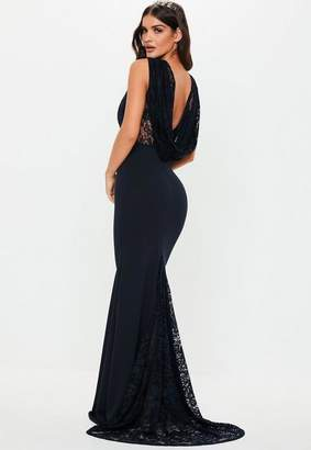 cb0bac529a Missguided Bridesmaid Navy Lace Cowl Back Maxi Dress