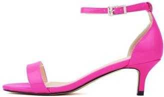 BEIGE CAMSSOO Women's Open Toe Kitten Heel Ankle Strap Buckle Pumps Sandals Black Velveteen 5 US M