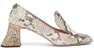 Rochas Pascal Faux Python Glitter Heel Pumps - Womens - White Multi