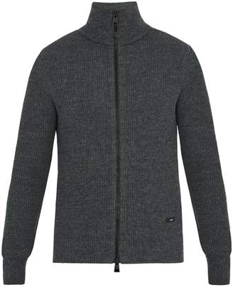 Ami Zip-through ribbed-wool sweater
