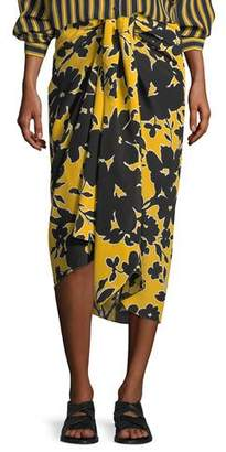 Michael Kors Tropical Floral-Print Sarong Skirt