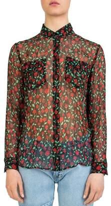 The Kooples Rosa Rosa Sheer Button-Down Shirt