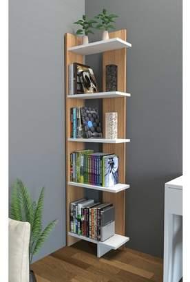 Latitude Run Lorena Ladder Corner Unit Bookcase Color : White/Teak