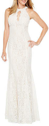 R & M Richards Sleeveless Halter Neck Lace Evening Gown