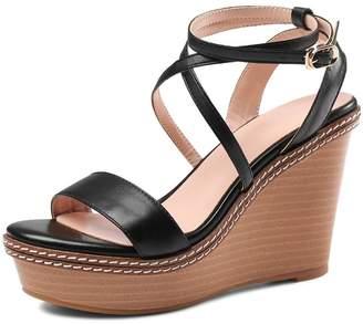 MINIVOG Women's Platform High Heels Open Toe Ankle Strap Leather Wedge Sandals 7.5