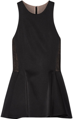Jason Wu - Lace-paneled Satin-crepe Peplum Top - Black $895 thestylecure.com