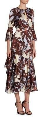 Erdem Florence Bell-Sleeve Silk Dress