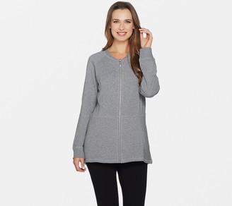Denim & Co. French Terry Zip Front Hi-Low Hem Knit Jacket