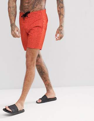 Armani Exchange All Over Logo Swim Shorts In Orange